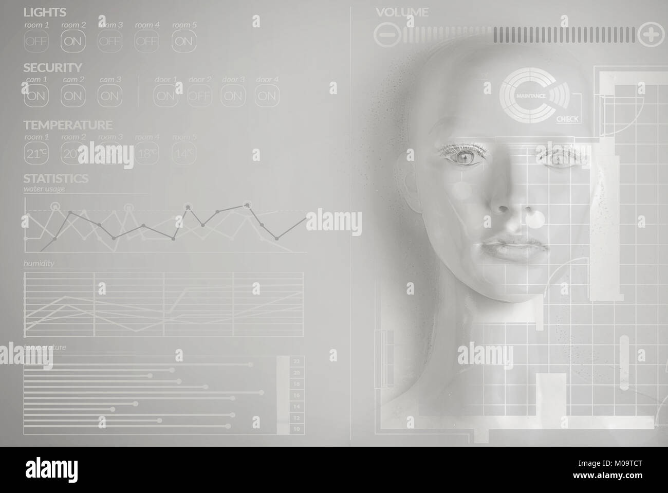 Artificial intelligence concept - smart house - Stock Image