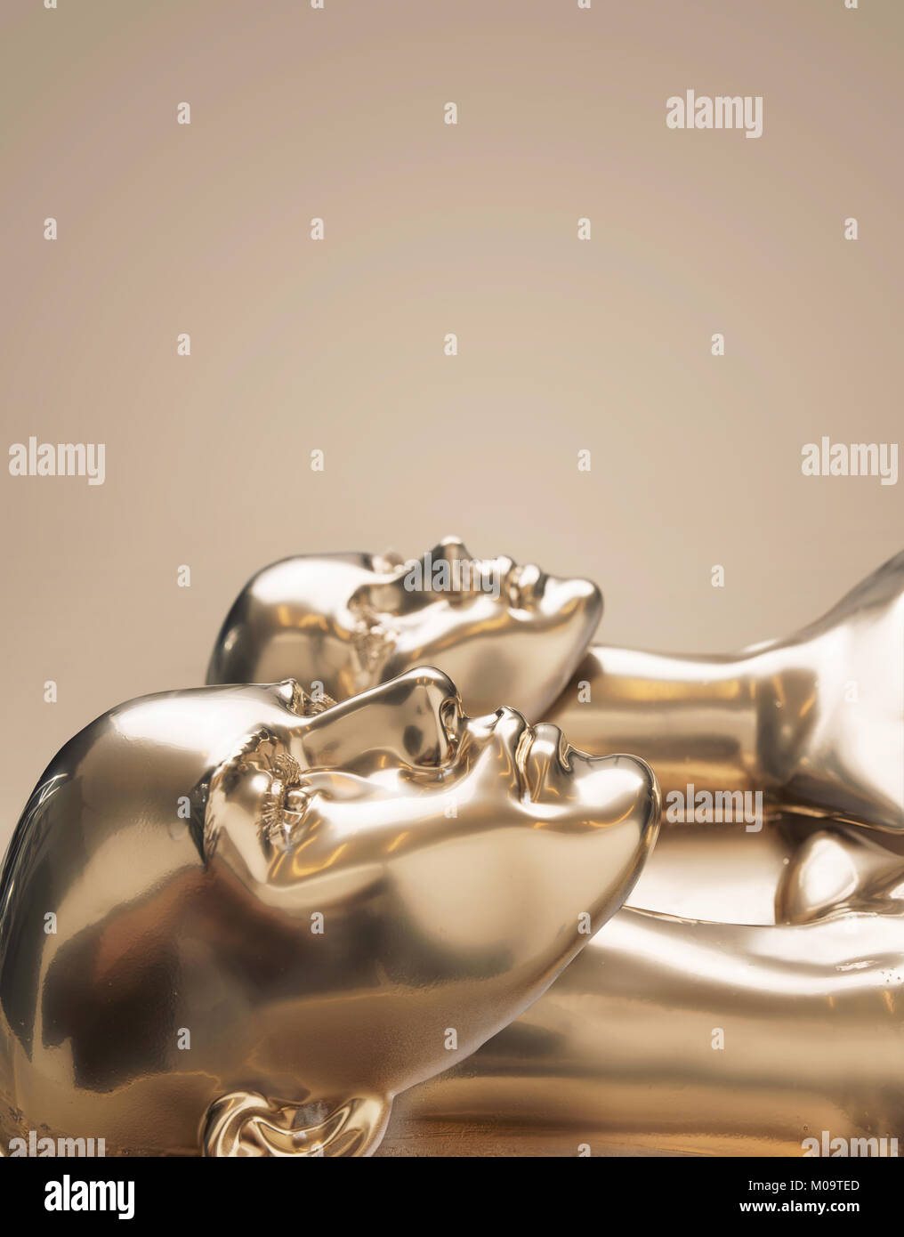 Golden scuplture of human - work of art Stock Photo