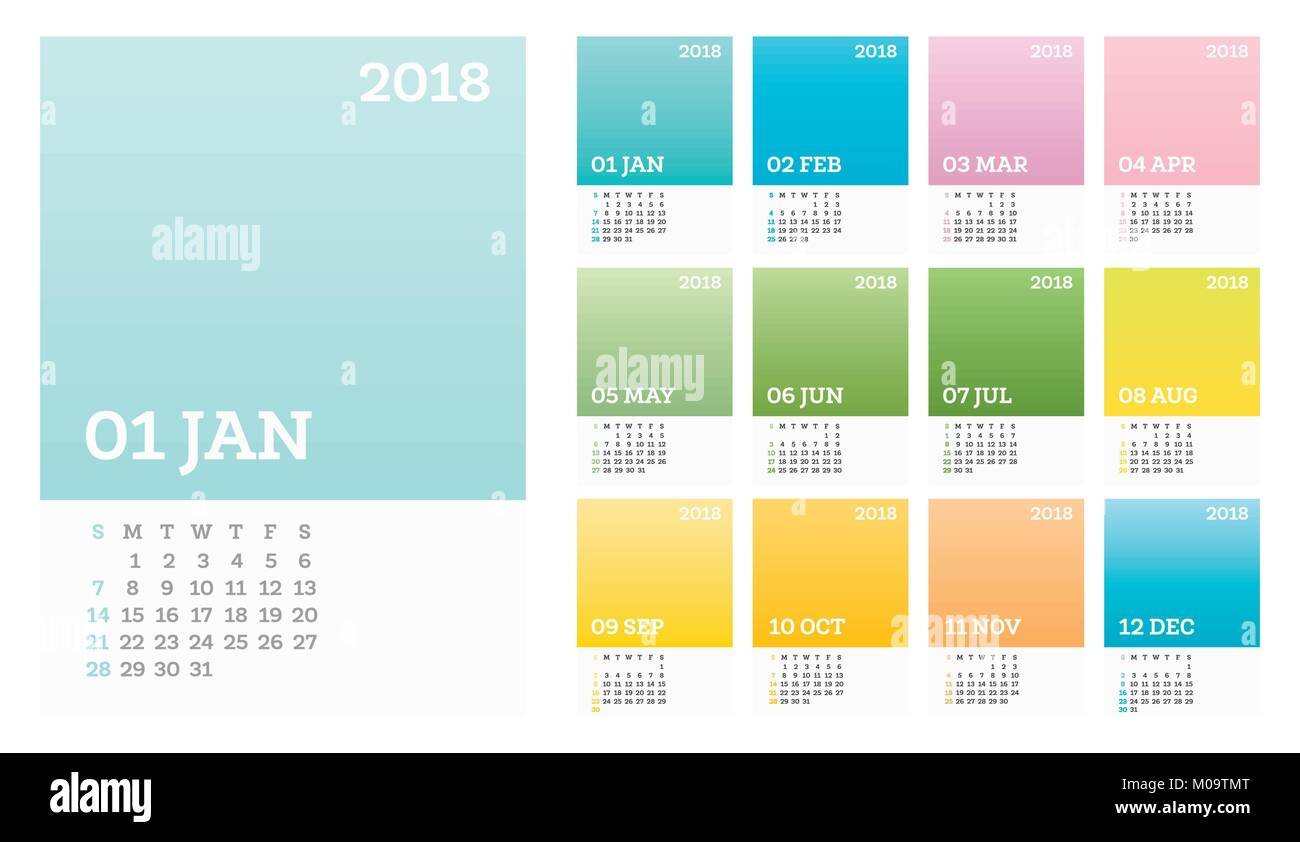 12 Months Calendar 2018 Pastel Solor In Minimalistic Style Vector