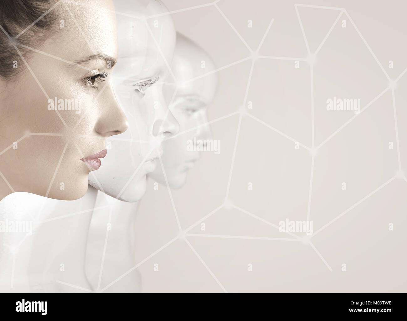 Woman and robots - artificial intelligence concept - Stock Image