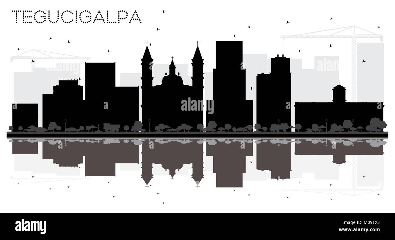 Tegucigalpa Honduras City Skyline Black and White Silhouette with Reflections. Vector Illustration. Stock Vector