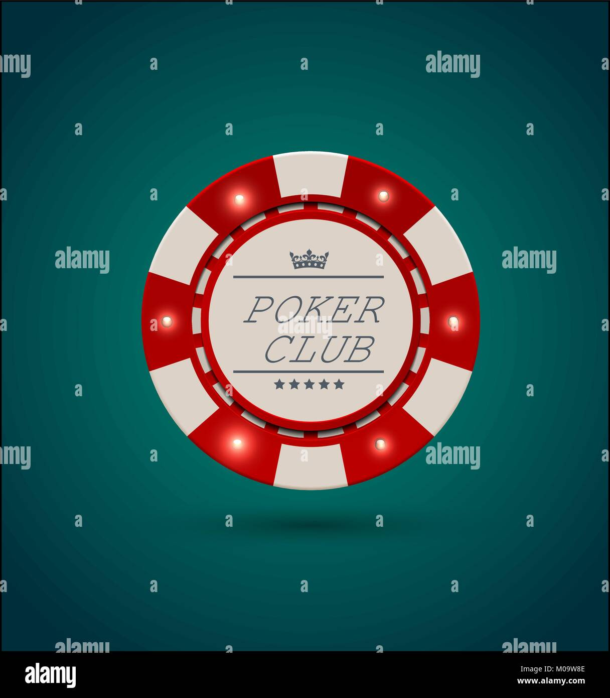 Vector Red White Casino Poker Chip With Luminous Light Elements Blue Stock Vector Image Art Alamy