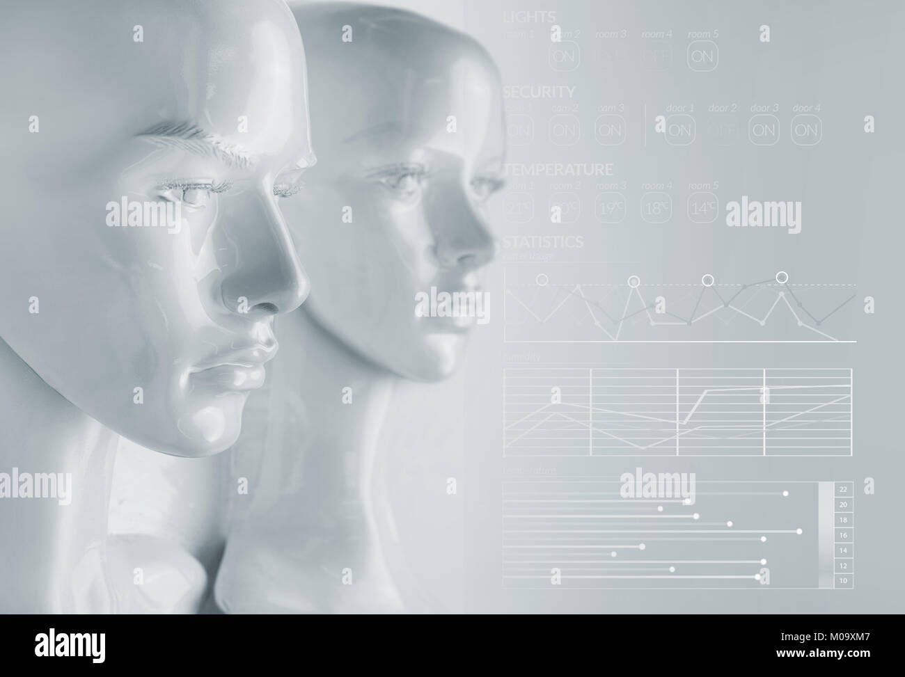 Artificial intelligence concept - graphs and diagrams - Stock Image