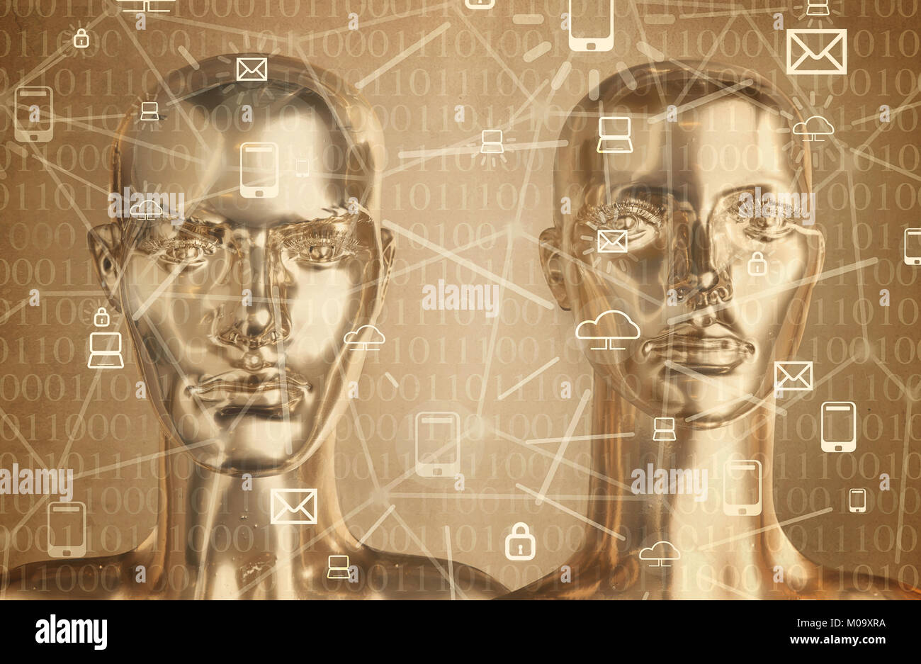 Artificial intelligence concept - globalization, Internet, network - Stock Image