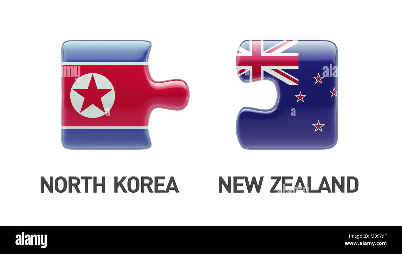 New Zealand North Korea High Resolution Puzzle Concept - Stock Image