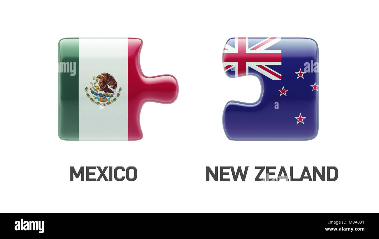 New Zealand Mexico High Resolution Puzzle Concept - Stock Image