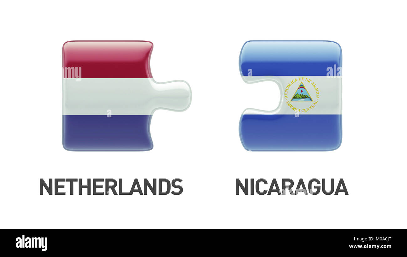 Nicaragua Netherlands High Resolution Puzzle Concept Stock Photo