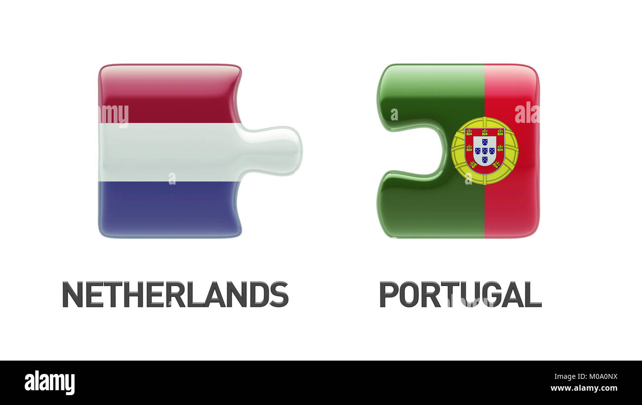 Portugal Netherlands High Resolution Puzzle Concept Stock Photo
