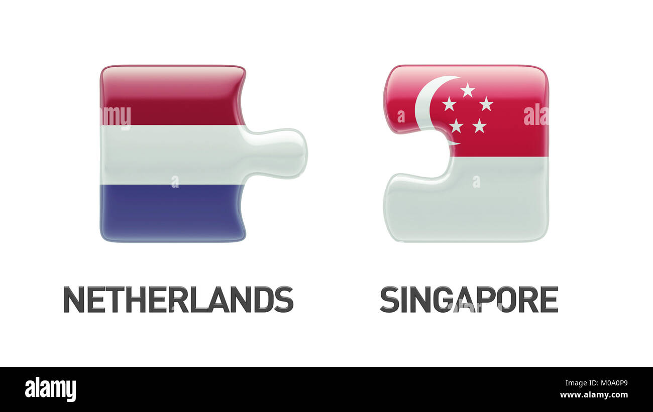 Singapore Netherlands High Resolution Puzzle Concept Stock Photo