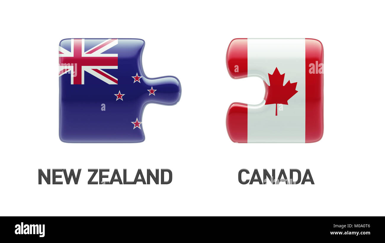Canada New Zealand High Resolution Puzzle Concept - Stock Image