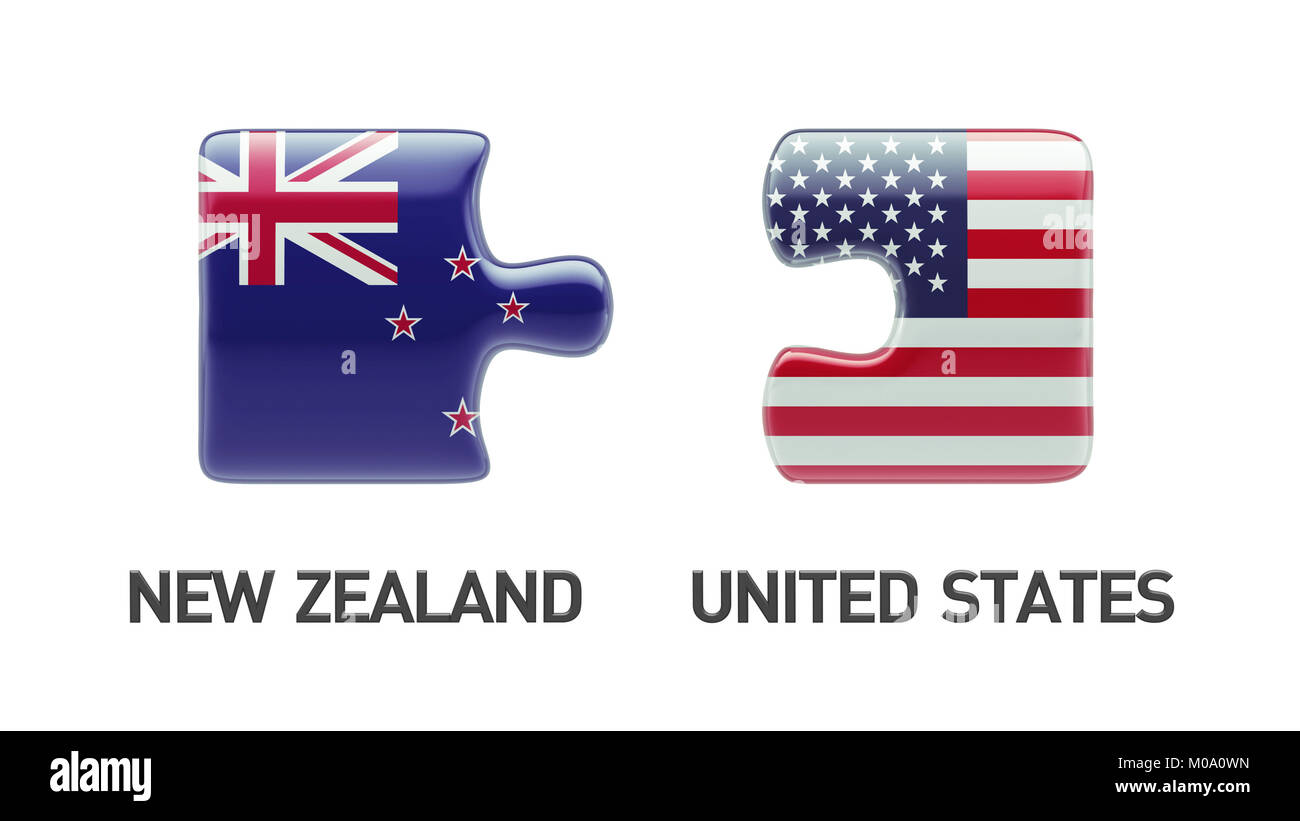 United States New Zealand High Resolution Puzzle Concept - Stock Image