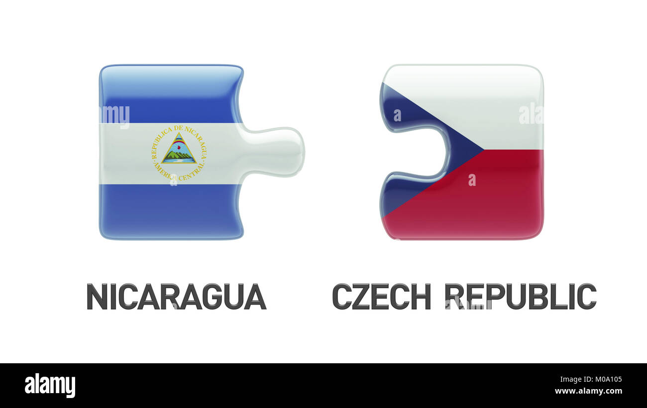 Czech Republic Nicaragua High Resolution Puzzle Concept Stock Photo