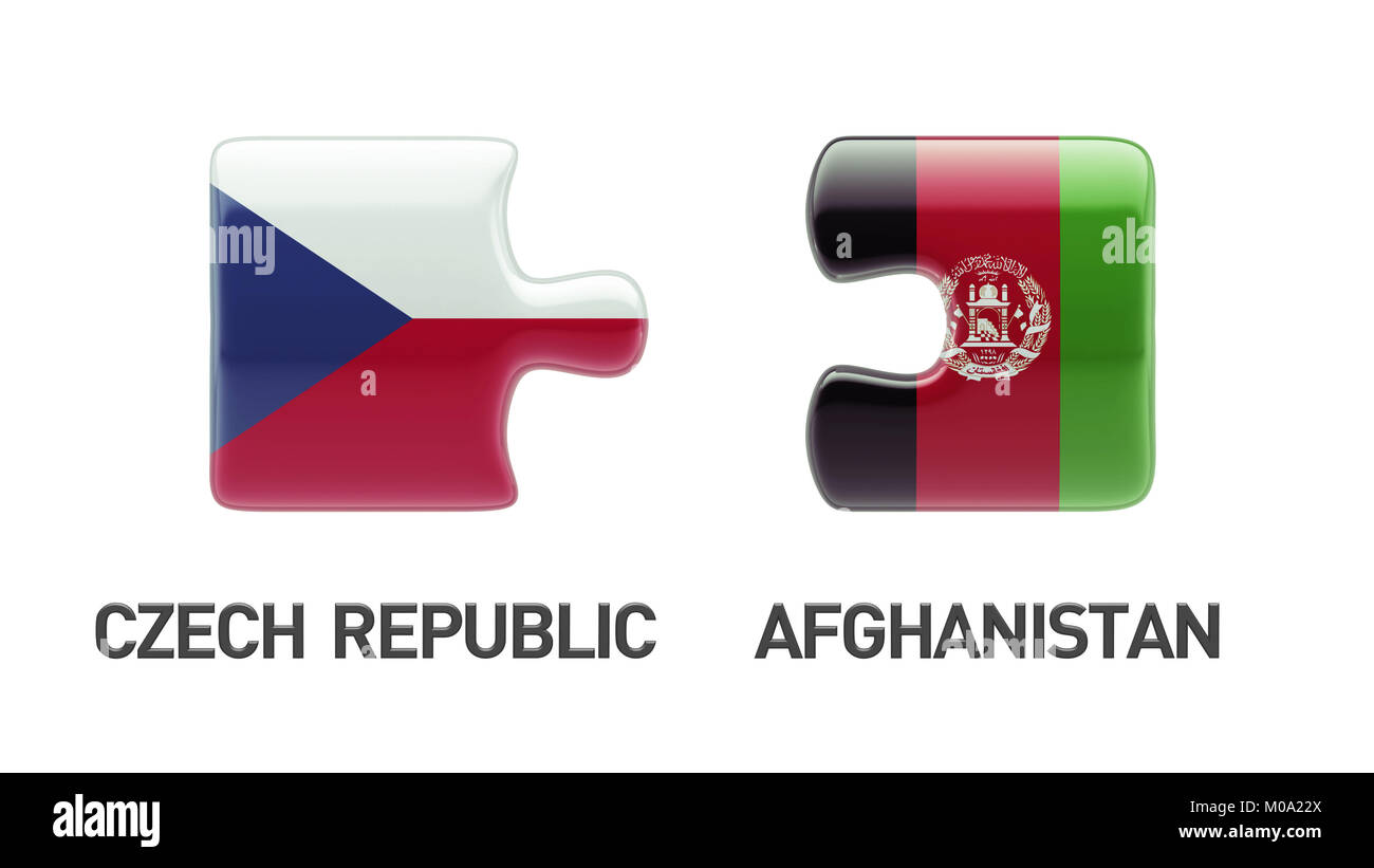 Afghanistan  Czech Republic High Resolution Puzzle Concept Stock Photo