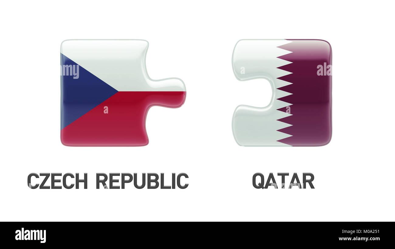 Qatar Czech Republic High Resolution Puzzle Concept Stock Photo