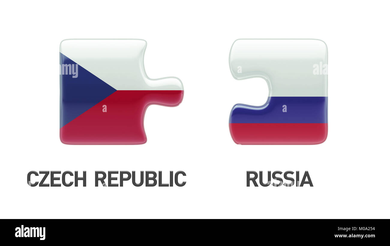 Russia Czech Republic High Resolution Puzzle Concept Stock Photo