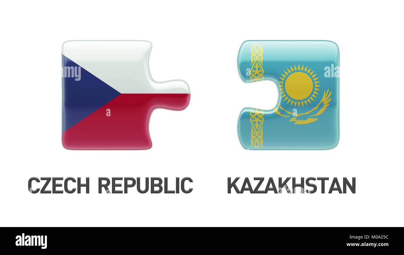 Kazakhstan Czech Republic High Resolution Puzzle Concept Stock Photo
