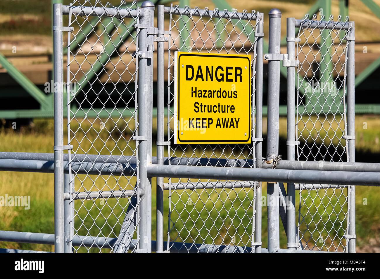 A Danger Hazardous Structure Keep Away sign - Stock Image
