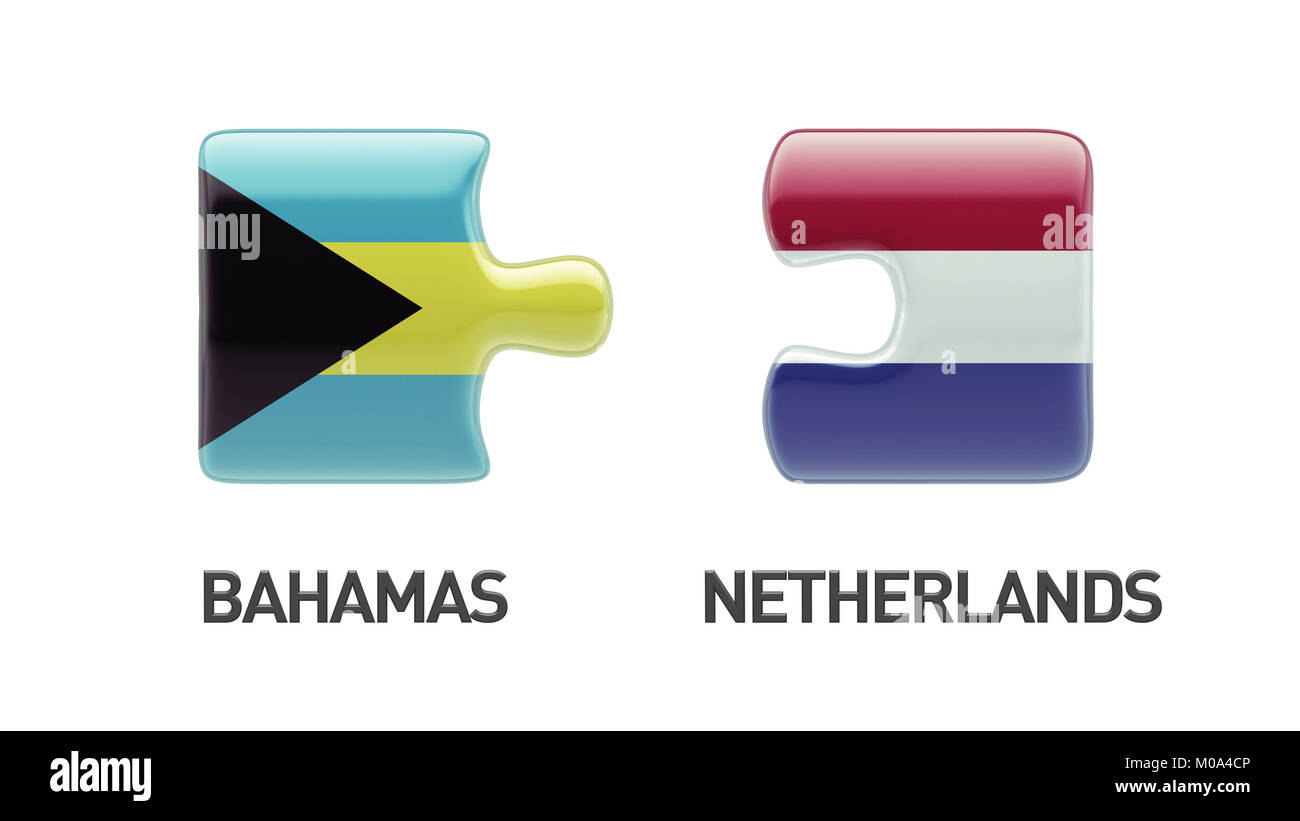 Bahamas  Netherlands High Resolution Puzzle Concept Stock Photo
