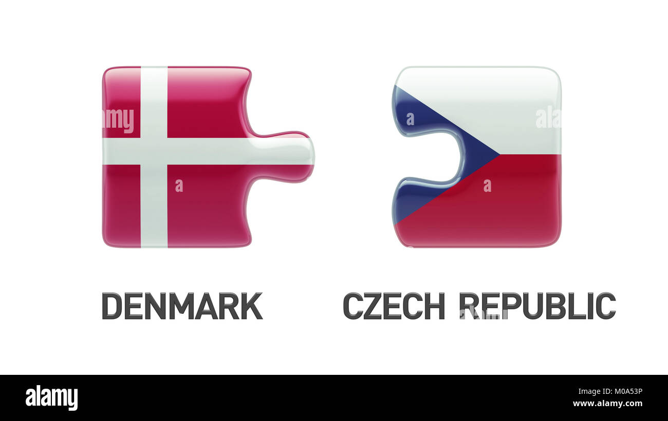 Denmark Czech Republic High Resolution Puzzle Concept Stock Photo