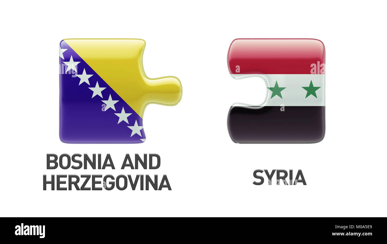 Syria Bosnia and Herzegovina High Resolution Puzzle Concept - Stock Image