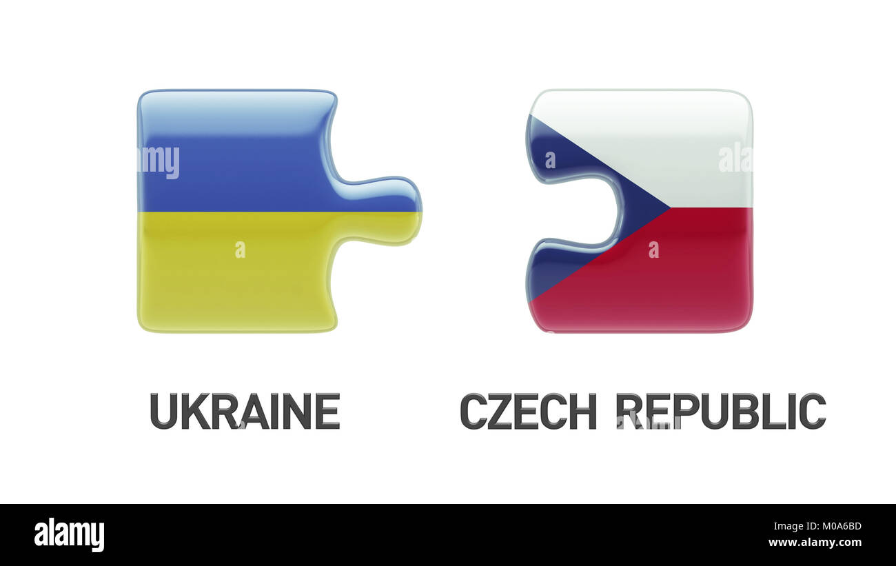 Ukraine Czech Republic High Resolution Puzzle Concept Stock Photo