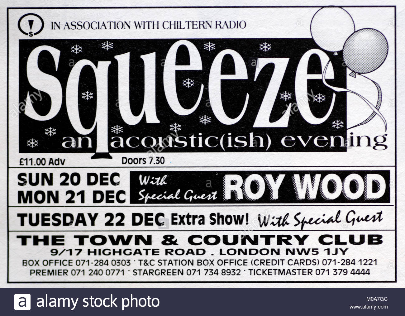 Magazine advert with UK tour dates for Squeeze 1992 - Stock Image