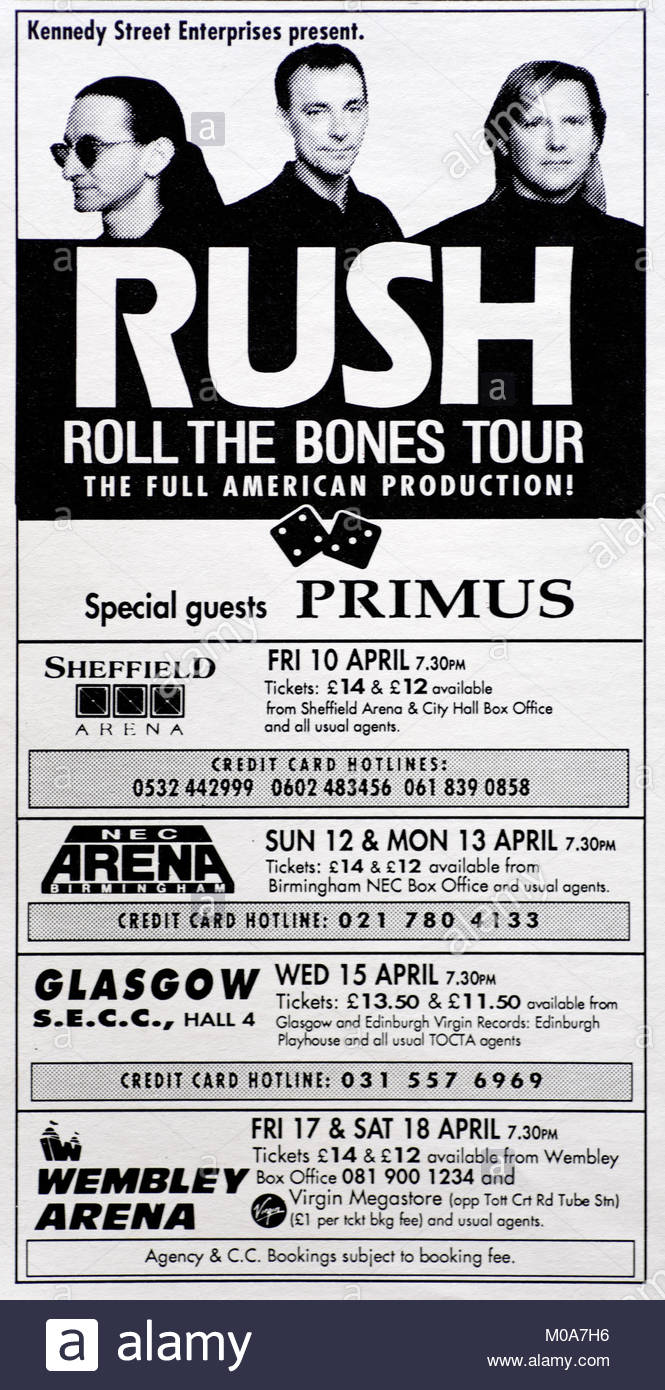 Magazine advert with UK tour dates for Rush 1992 - Stock Image