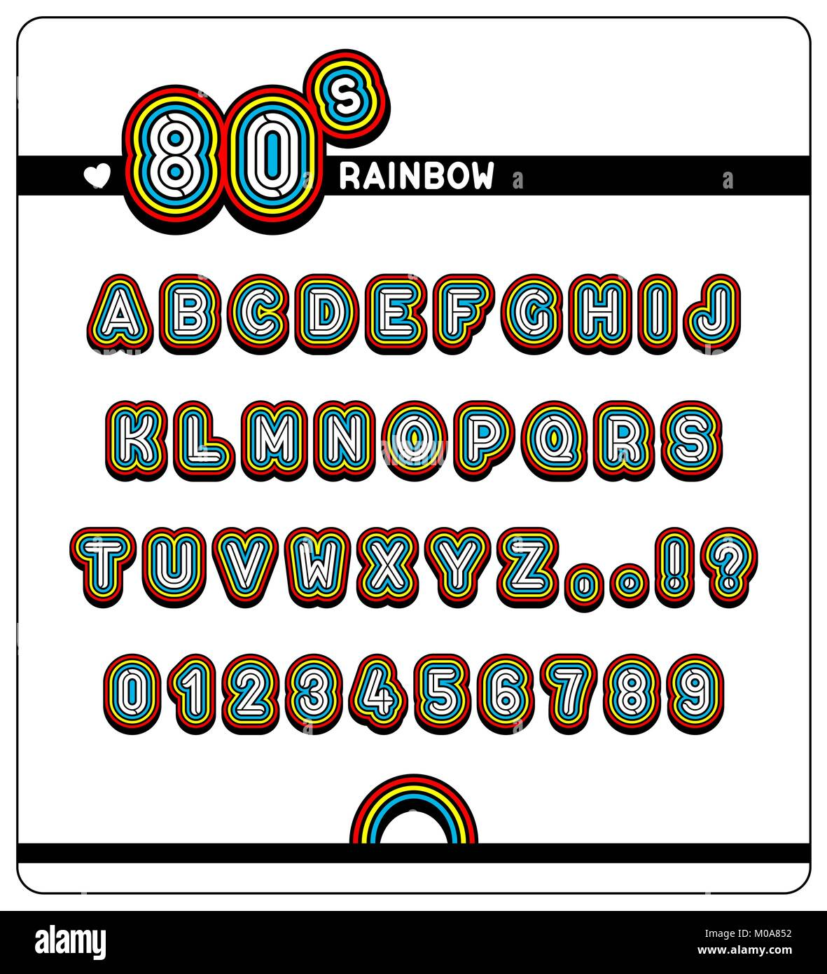 Complete alphabet and numbers with question and exclamation marks of a 1980s Rainbow Font with colorful digits with - Stock Vector