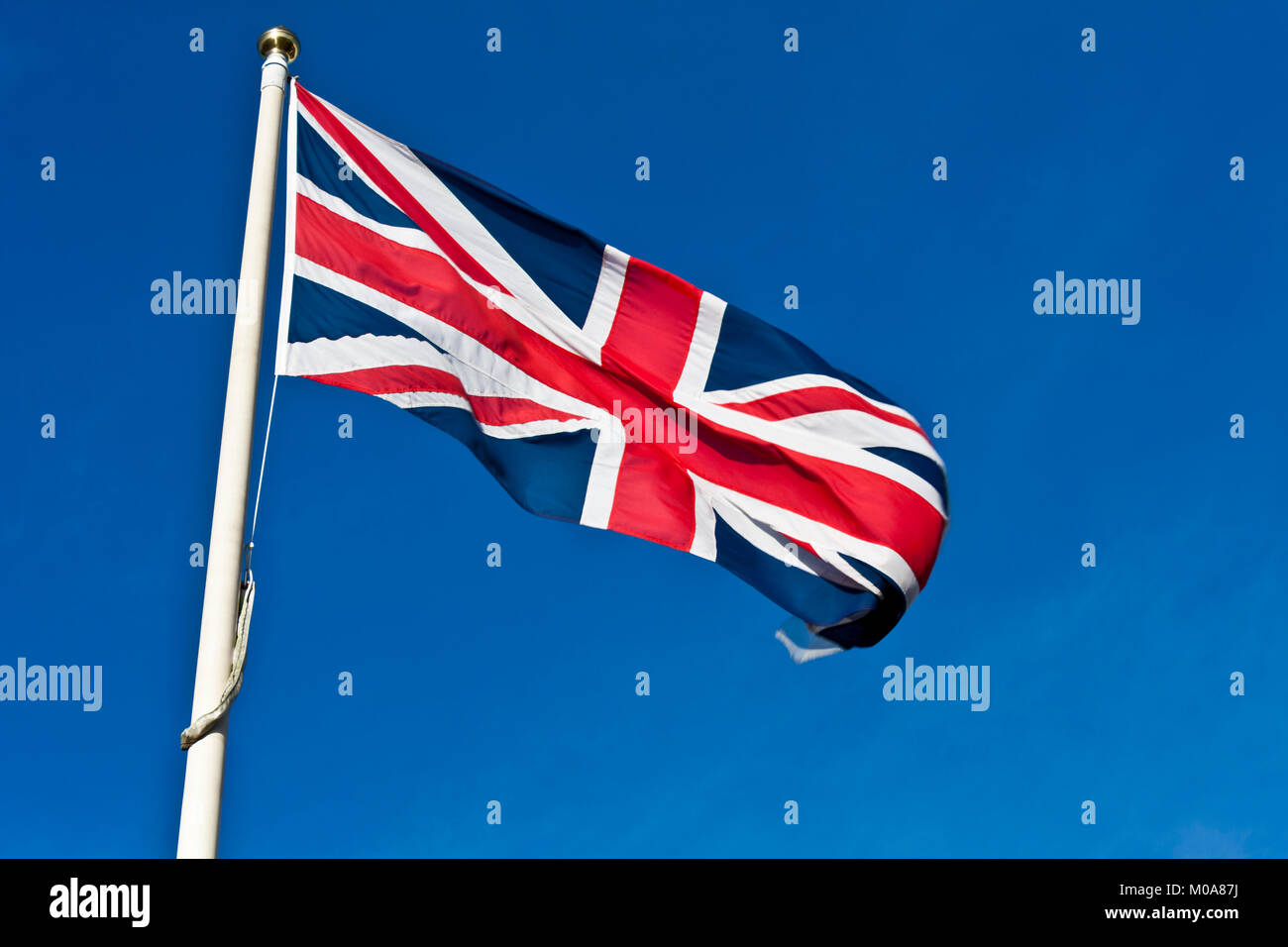 Union Flag of the United Kingdom flying in the breeze - Stock Image