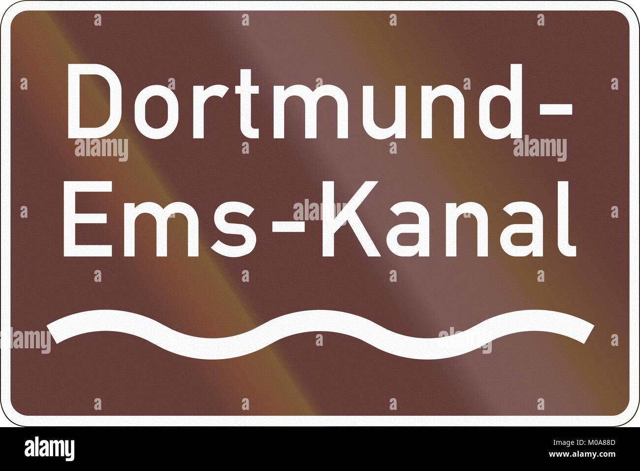 German road sign marking the Dortmund-Ems Canal. - Stock Image