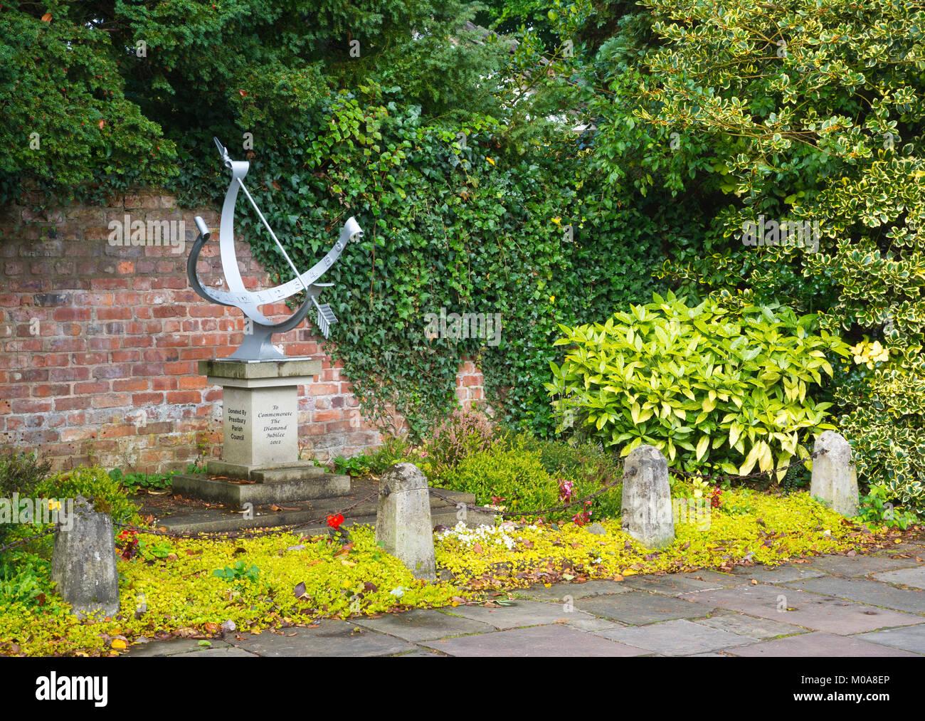 Queen Elizabeth II Diamond Jubilee memorial sundial, Prestbury, Cheshire - Stock Image