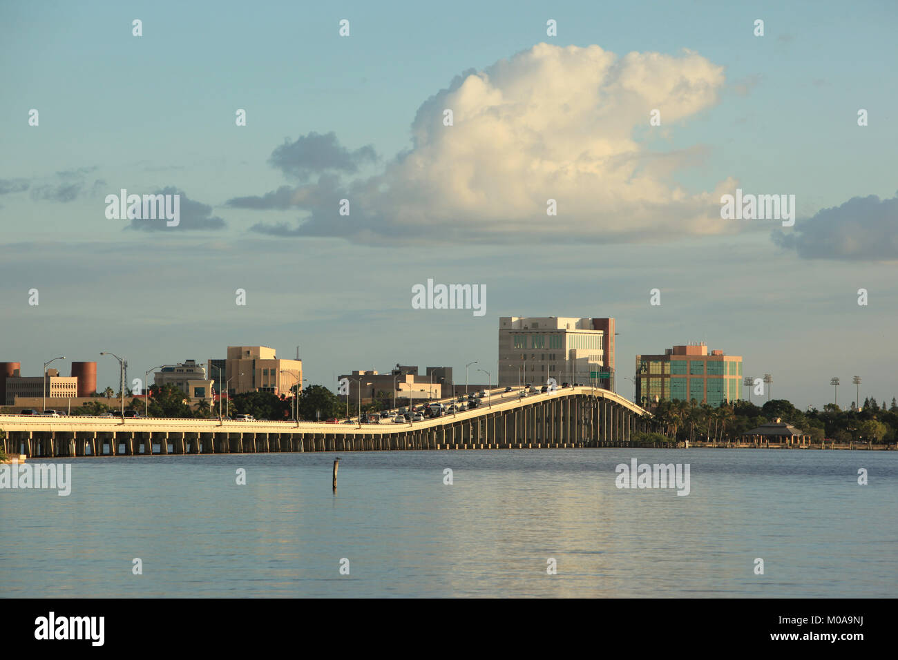 Caloosahatchie Bridge and River, and Downtown Fort Myers Skyline as seen from North Fort Myers, © Katharine - Stock Image