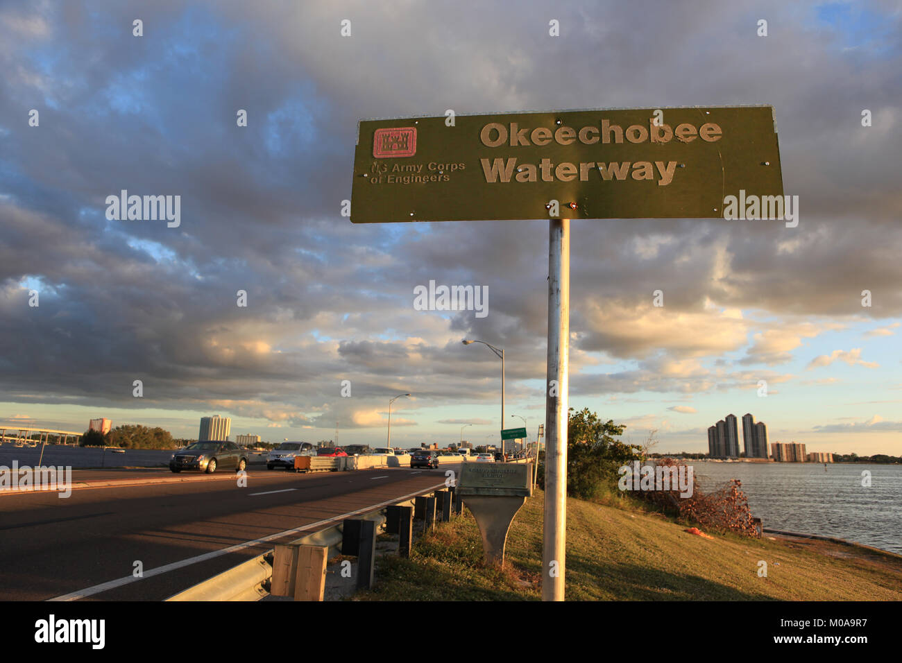 U.S. Army Corps of Engineers sign marking the Okeechobee Waterway at the Caloosahatchie Bridge in North Fort Myers, - Stock Image