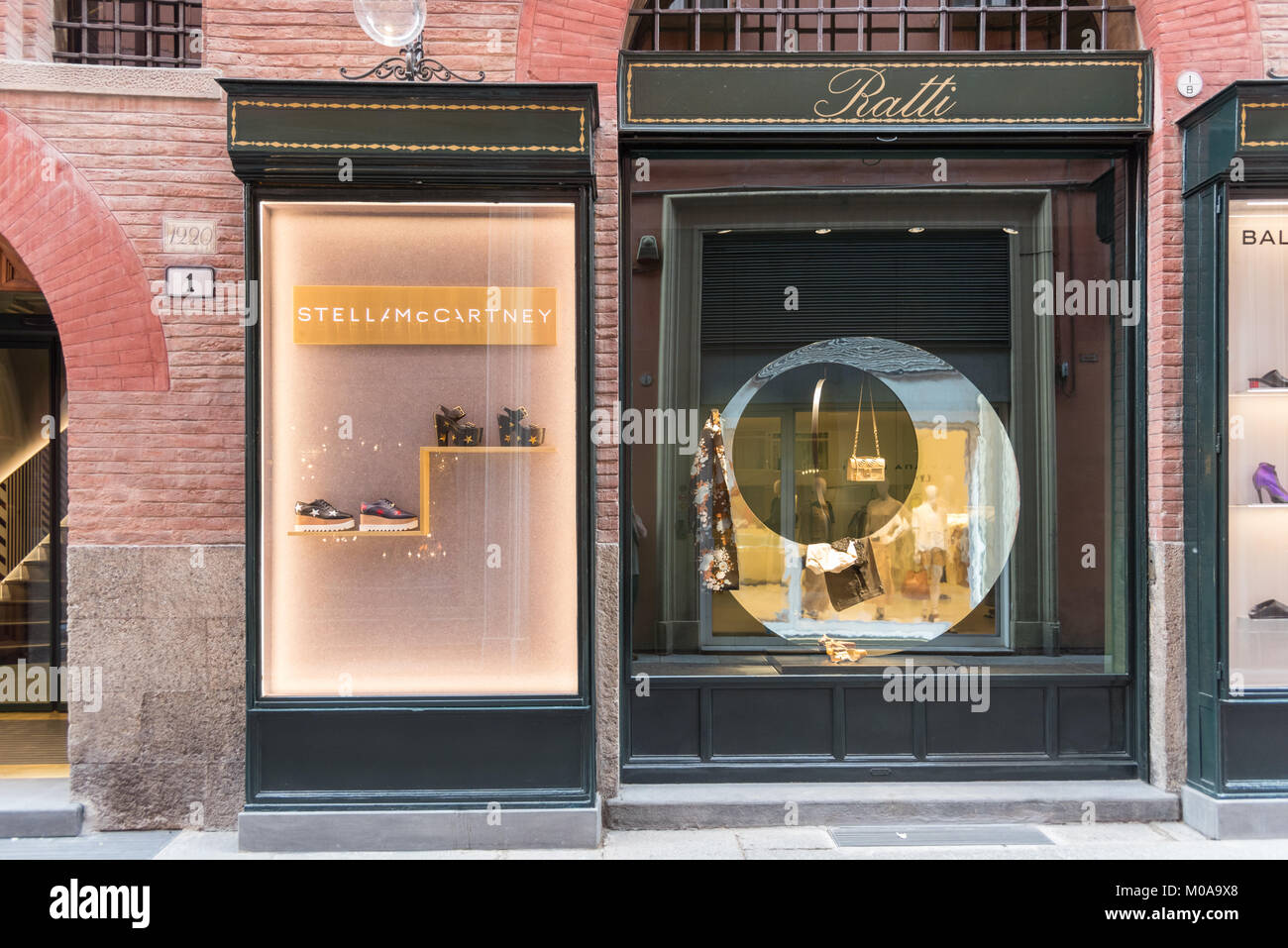 The Stella McCartney designer shop and shop window in Bologna Italy - Stock Image