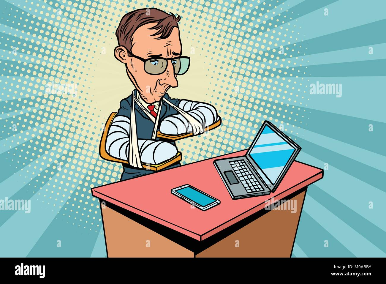 People with broken arms and gadgets. voice assistant. Comic book cartoon pop art retro drawing illustration - Stock Image