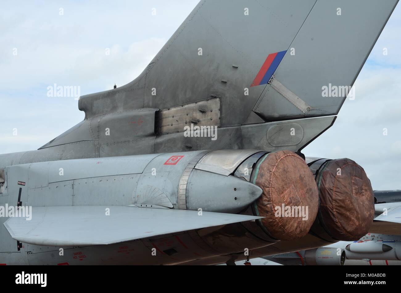 RAF Tornado GR4 tailplane and engine details - Stock Image