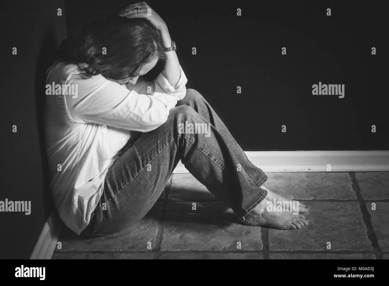 Woman in Anguish - Stock Image