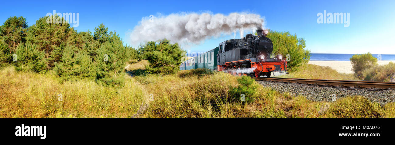Historical German steam train in spring, Rugen, Germany, panoramic image - Stock Image