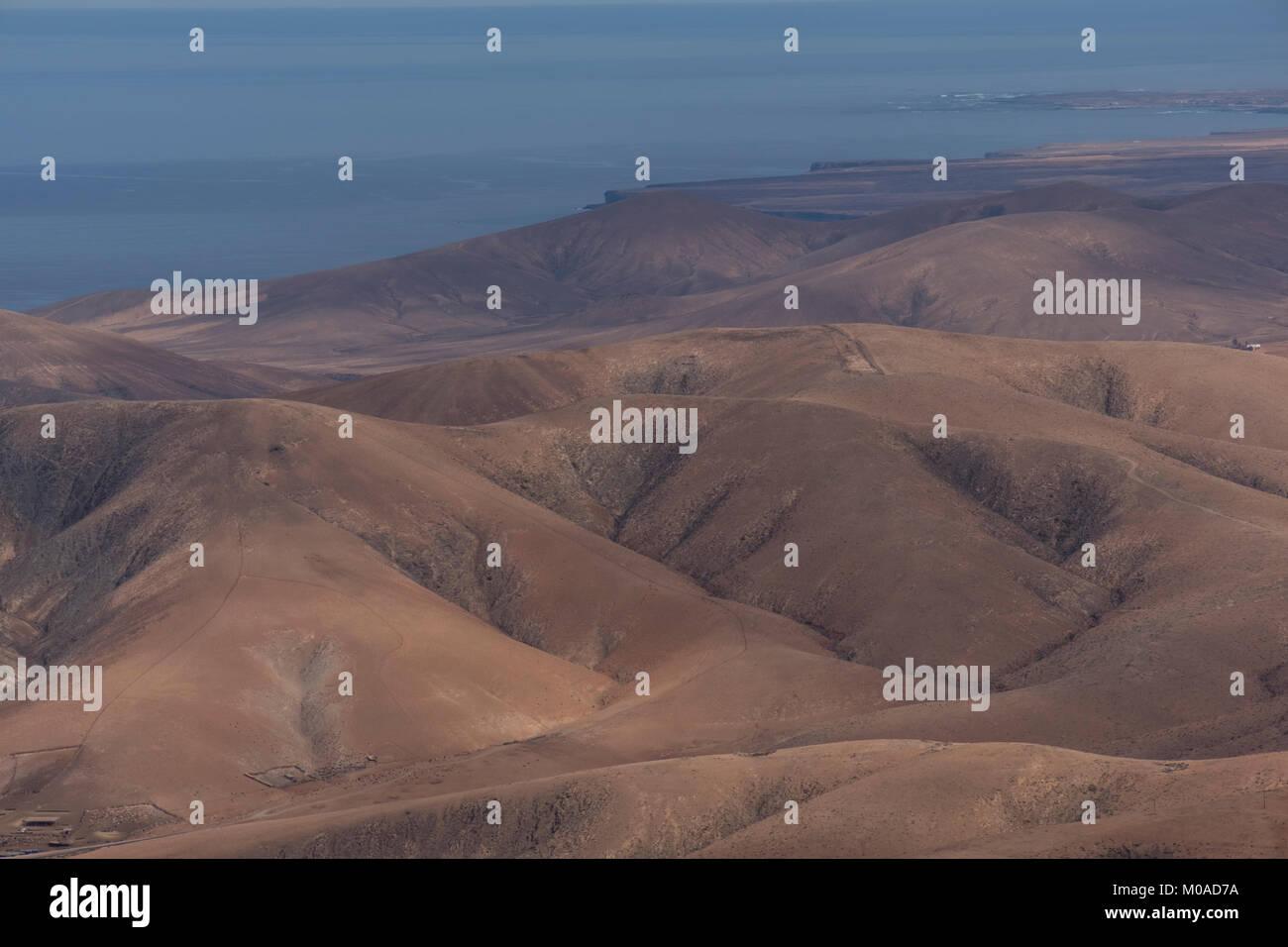 Desert landscape, Fuerteventura,Canary Islands,Spain - Stock Image