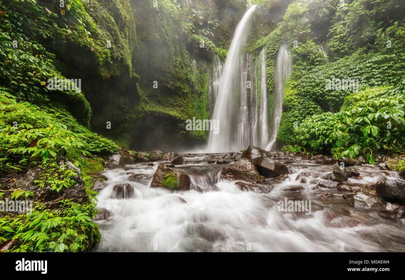 Sendang Gile Waterfalls, Lombok, Indonesia - Stock Image