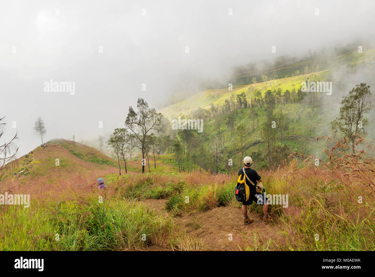 Enjoying the beautiful view of Mount Rinjani, Lombok, Indonesia - Stock Image