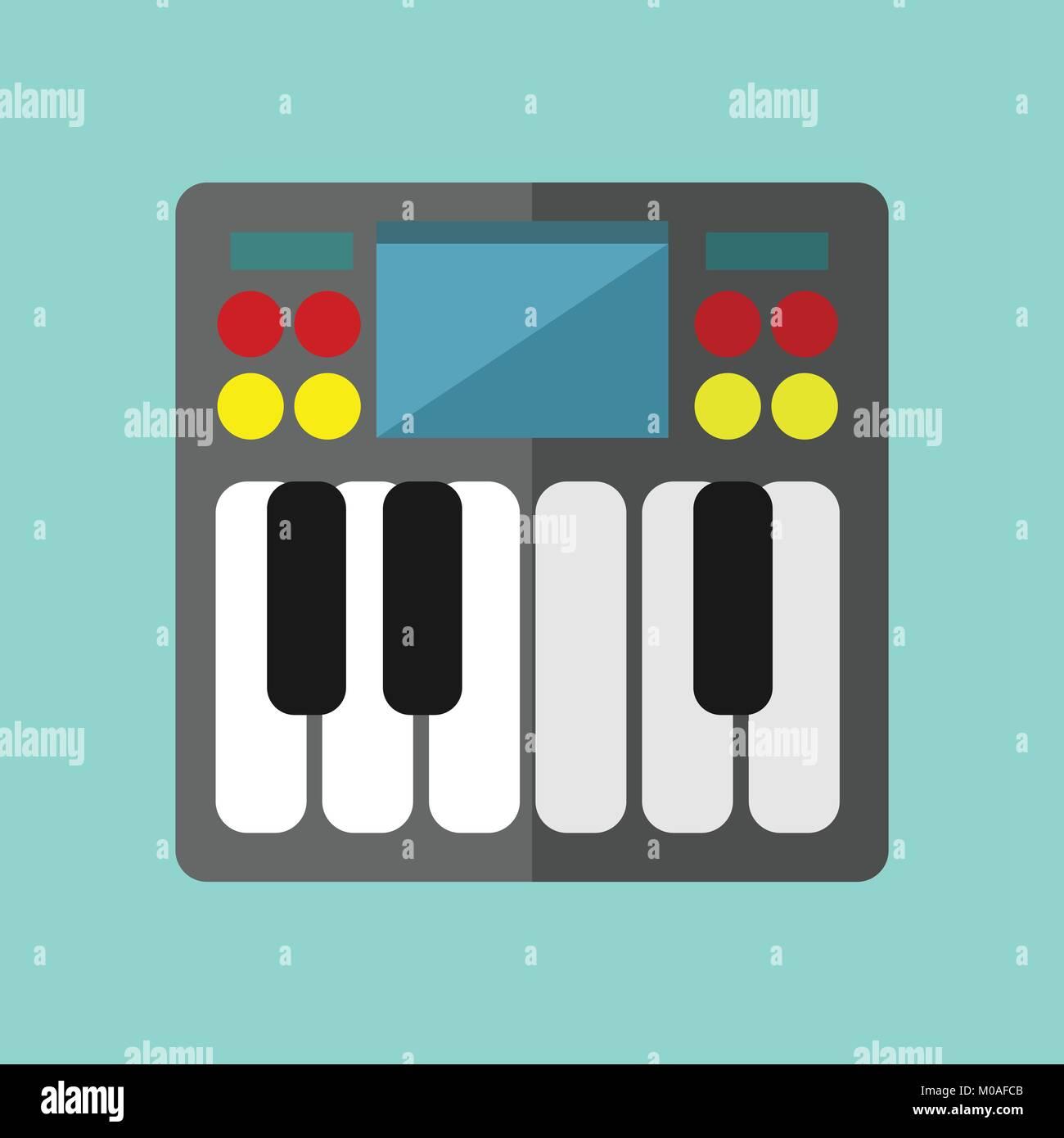 Mini Synthesizer Keyboard Vector Illustration Graphic Design - Stock Image
