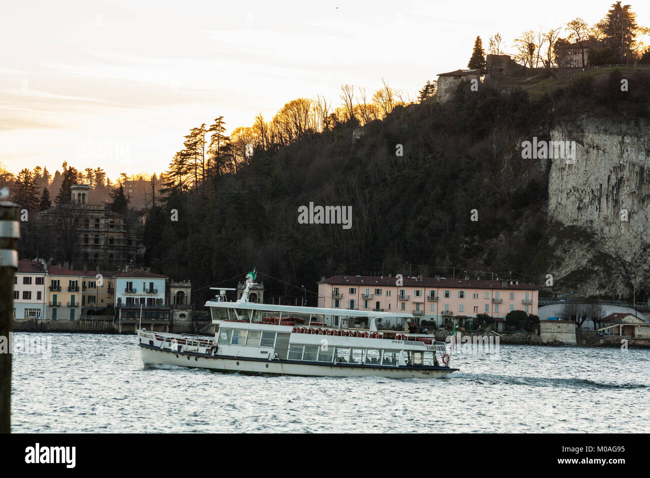 Lakefront at sunset, Lago Maggiore, Angera, Varese, Lombardia, Italy - Stock Image