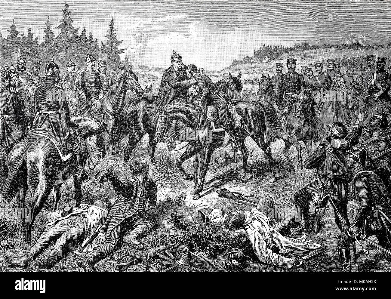 King William and Crown Prince Friedrich Wilhelm in the evening after the Battle of Koeniggraetz, also known as the - Stock Image