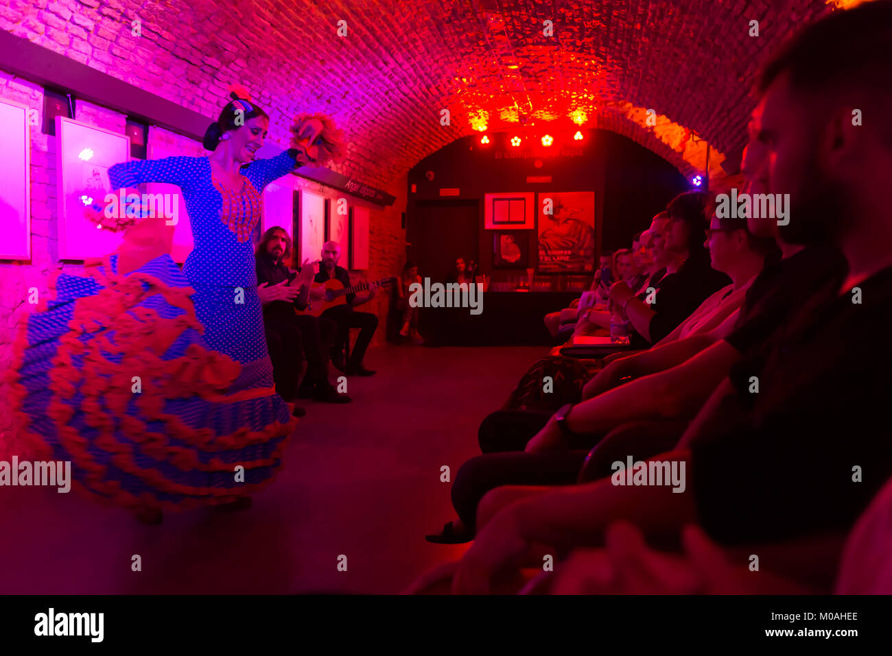 Seville, Andalusia, Spain. A demonstration of flamenco dance in a cellar. - Stock Image