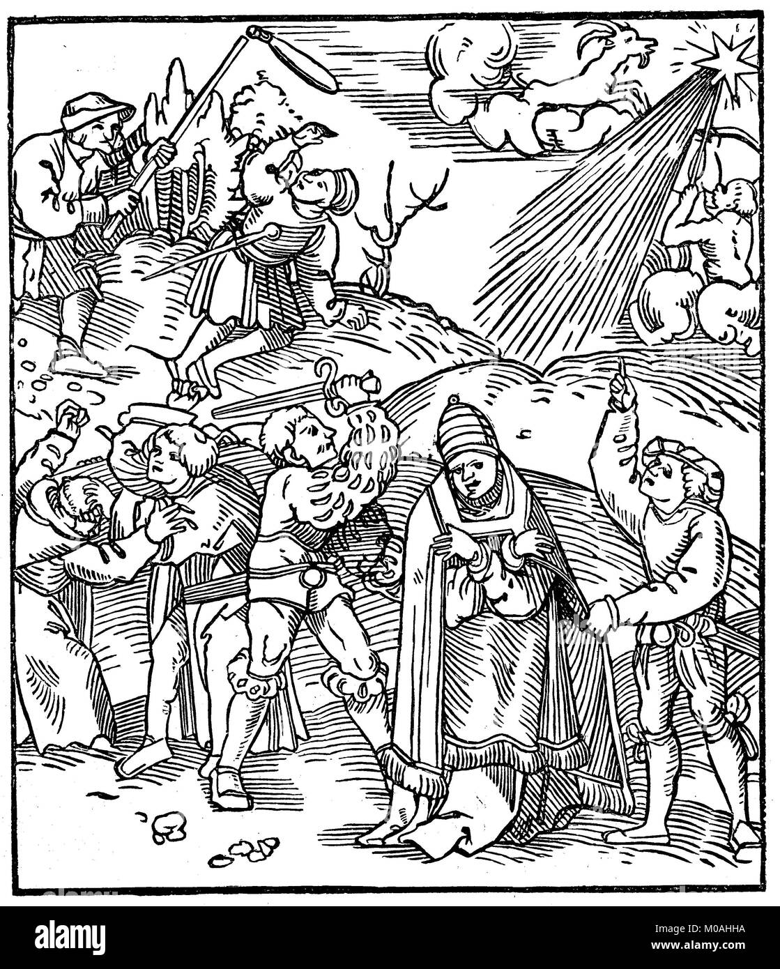 Drawing, fight against the papacy, woodcut from 1522, digital improved reproduction of an original from the year - Stock Image