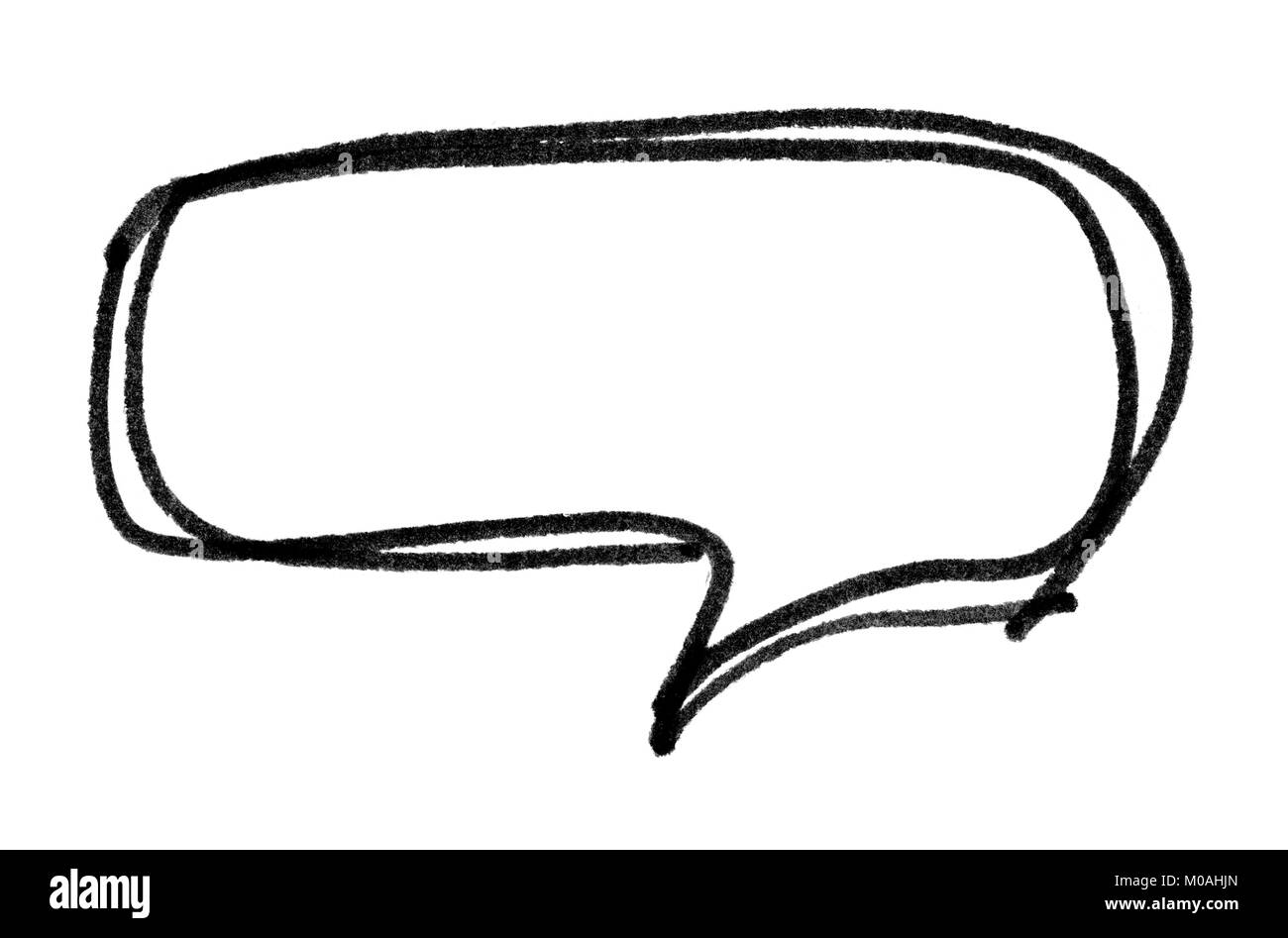 Speech bubble with brush stroke isolated on white background - Stock Image
