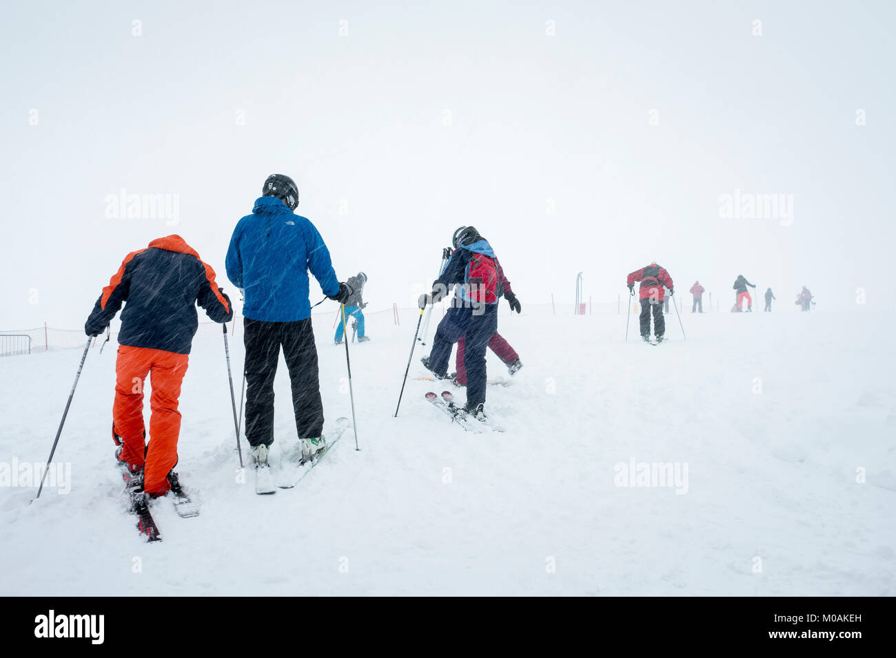 Intrepid skiers in a blizzard at the  top of the Passo Fedala. Above Canazei and Alba, in the Val di Fassa. - Stock Image