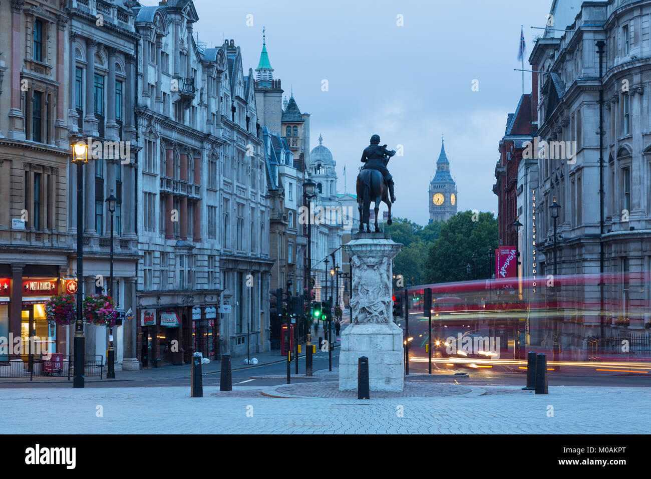 LONDON, GREAT BRITAIN - SEPTEMBER 18, 2017: The view from Trafalgar square at dusk. Stock Photo
