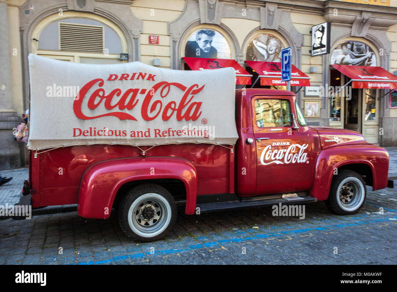 Vintage Ford F100 pick up, Coca-cola truck in front of James Dean Bar, Dlouha street Prague Czech Republic, Europe - Stock Image